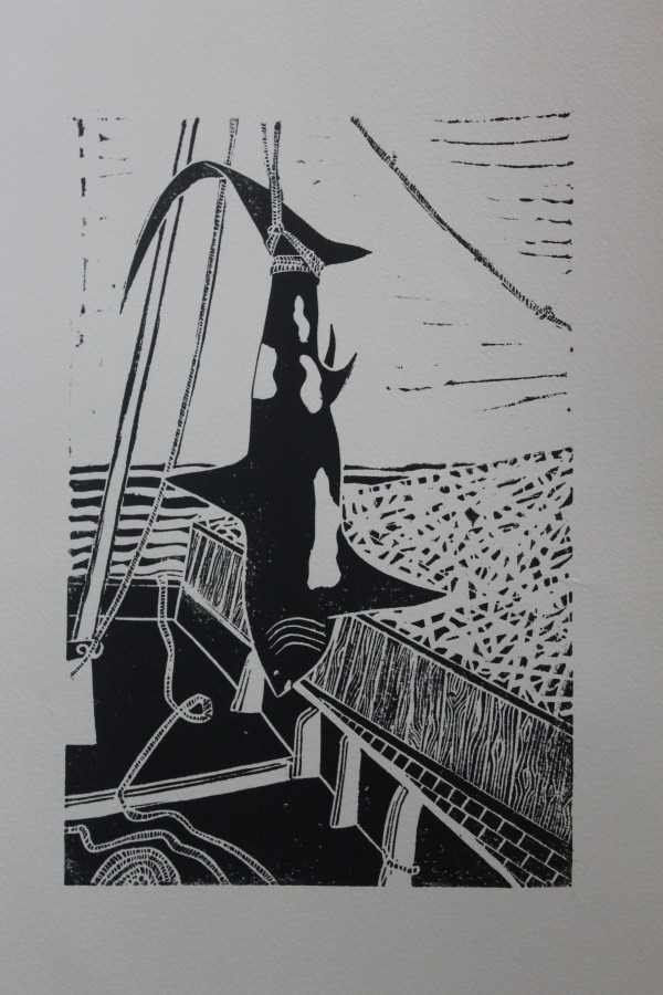 Thresher linocut print