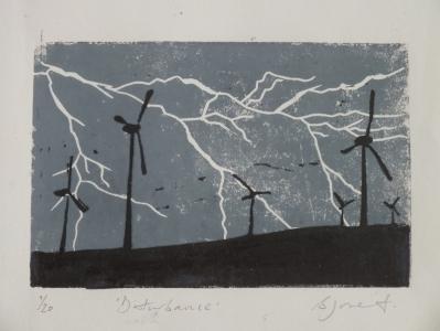 Disturbance. Billie Josef Linocut Print
