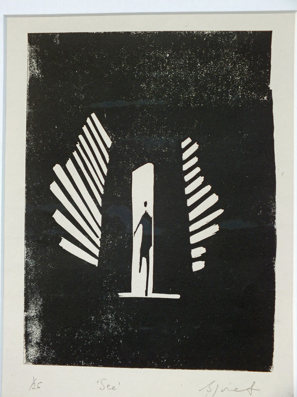 See linocut print