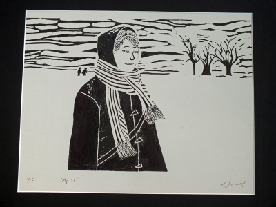 April. Billie Josef Linocut Print