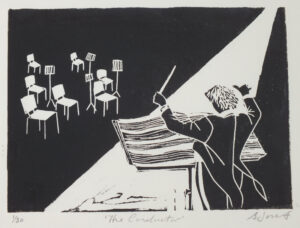 The Conductor linocut print