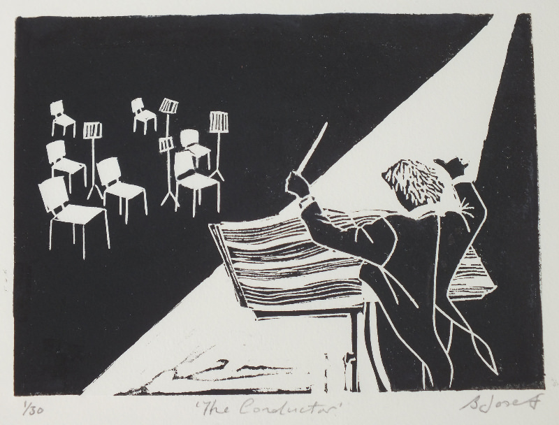 The Conductor. Billie Josef Linocut Print