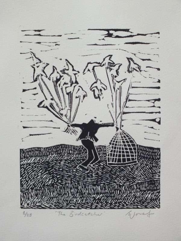 The bird catcher linocut print