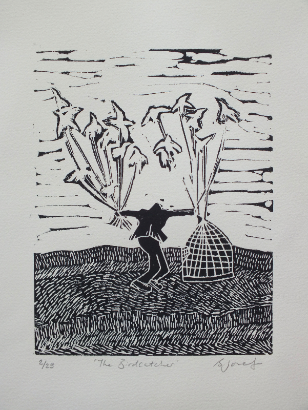 The bird catcher linocut print