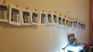 linocut prints drying 2