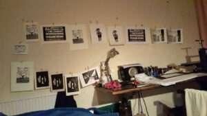 linocut prints drying 3