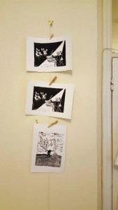 linocut prints drying 4