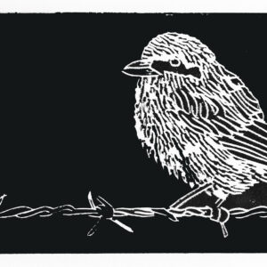 Bird On A Wire Linocut Print