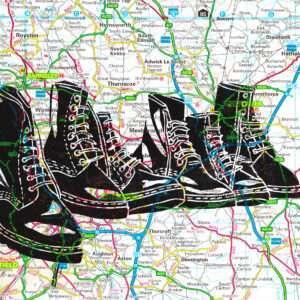 Boots linocut print