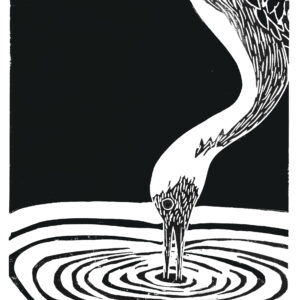 heron linocut print