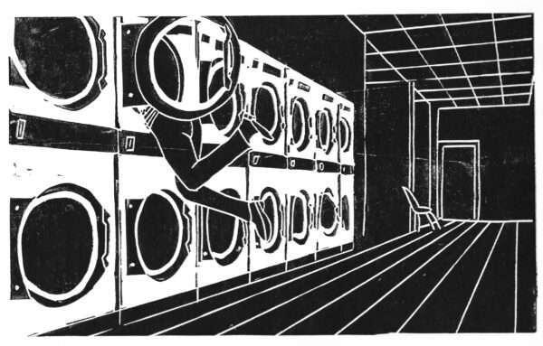 Launderette Linocut Print