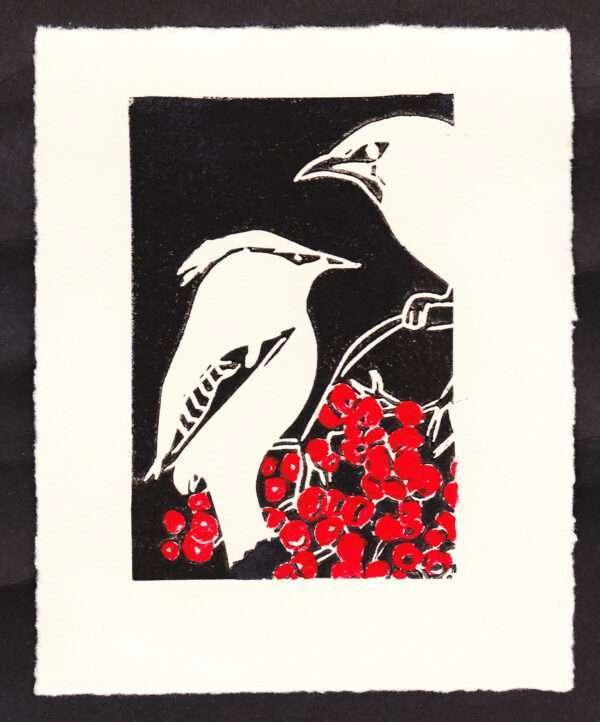 waxwings linocut print