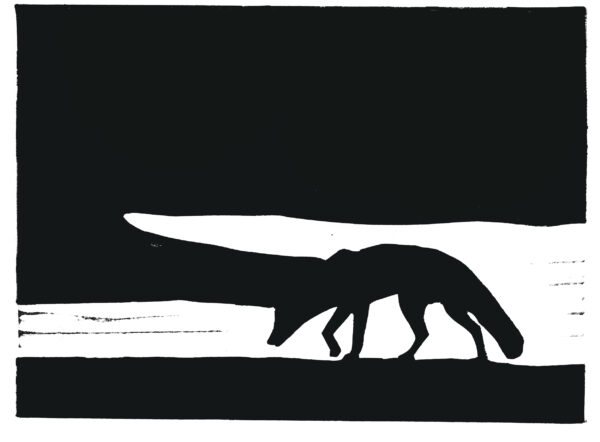 Black as the pit from pole to pole linocut print