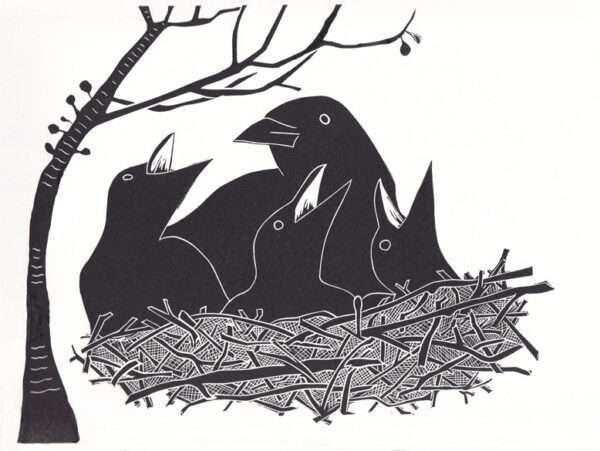 safe on the nest linocut print