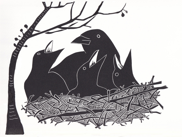 safe on the nest linocut print