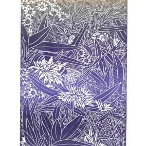 august garden linocut priont