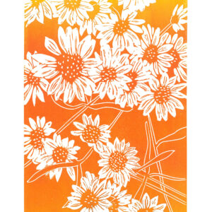Asters, August linocut print