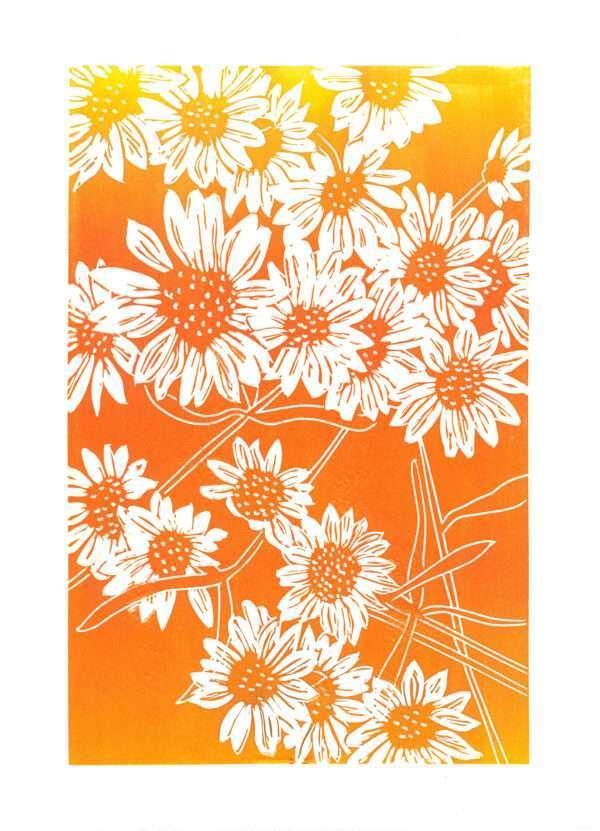 Asters, August linocut print